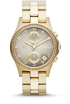 Marc by Marc Jacobs Henry Glitz Goldtone Stainless Steel Chronograph Bracelet Watch $275 thestylecure.com