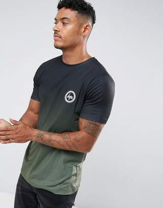 Hype T-Shirt In Black With Khaki Fade