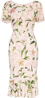 Dolce & Gabbana Lily print flounce dress