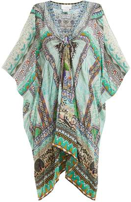 Camilla V-neck printed silk-chiffon kimono dress