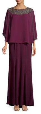 Xscape Evenings Long-Sleeve Embellished Overlay Gown