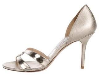 Jimmy Choo Metallic Round-Toe Sandals