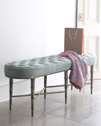 Caracole Antiqued-Teal Tufted Bench