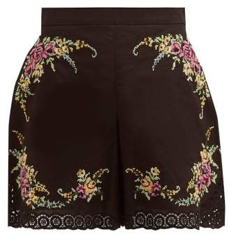 Zimmermann Allia Cross Stitch Embroidered Poplin Shorts - Womens - Black