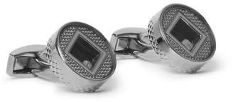 Tateossian Precious Window Gunmetal-Plated, Diamond and Enamel Cufflinks