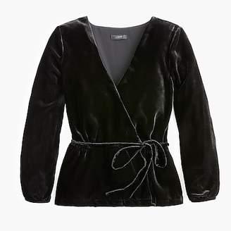 J.Crew Faux-wrap top in drapey velvet