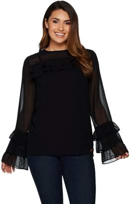 Peace Love World Ruffle Sleeve Top with Camisole