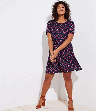 LOFT Plus Ikat Short Sleeve Swing Dress