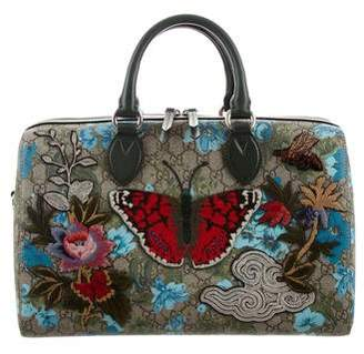 Gucci 2016 Linea A Butterfly Embroidered Boston Bag