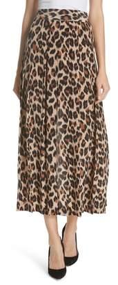 Smythe Leopard Print Pleated Silk Skirt