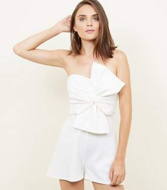 1b48960ff81 New Look White Bow Front Strapless Playsuit