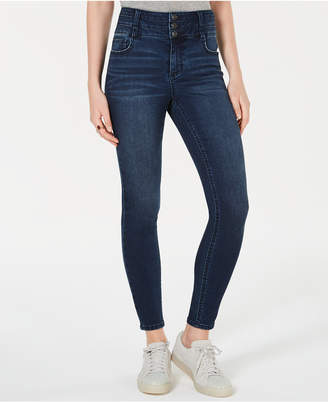 Vanilla Star Juniors' Three-Button High-Rise Skinny Jeans