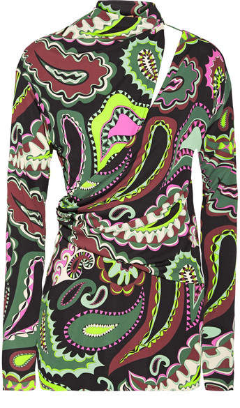 Emilio Pucci - Cutout Wrap-effect Printed Jersey Top - Green
