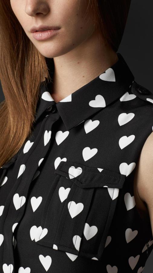 Burberry Heart Print Silk Shirt Dress