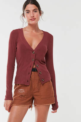 Out From Under Lightweight Ribbed Button-Front Cardigan