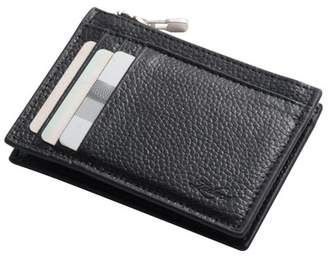 Wallets for men by Zodaca Men's Genuine Leather Wallet Zip Coin Pocket Purse Credit Card Holder Case - Black