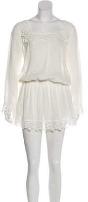 Alexis Linen Lace-Trimmed Dress