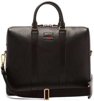 Gucci Web Stripe Leather Briefcase - Mens - Black