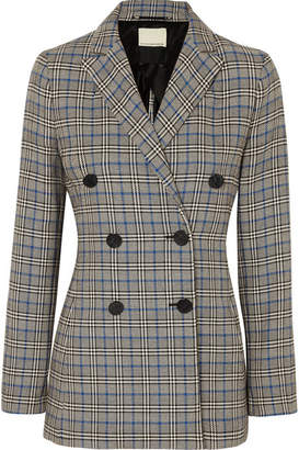 By Malene Birger Checked Cotton-blend Blazer - Gray