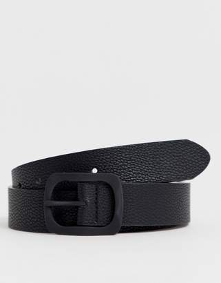 Asos Design DESIGN faux leather wide belt in black pebble grain and matte black buckle