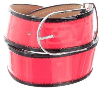 Tanya Taylor Patent Leather Buckle Belt