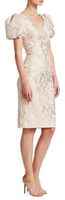 Theia Puffed-Sleeve Jacquard Dress