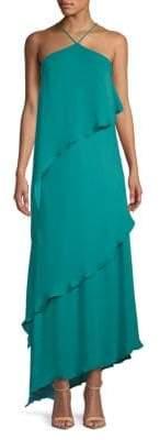 Halston Layered Sleeveless Silk Dress