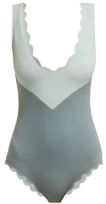 Marysia Swim Kamas Scallop Edged Swimsuit - Womens - Blue Multi