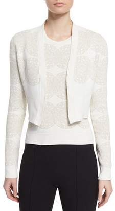Derek Lam Long-Sleeve Medallion Cropped Cardigan, Ivory/Multi $1,295 thestylecure.com