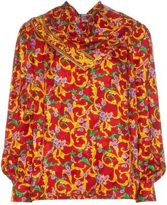 PushBUTTON floral print draped silk blouse