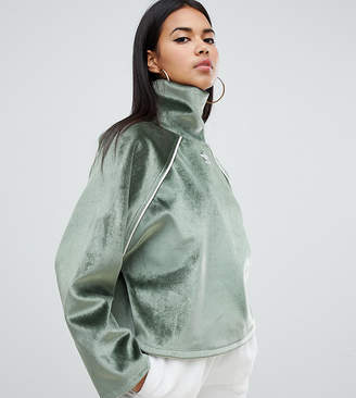 adidas Faux Fur High Neck Top In Green