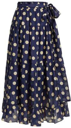Lee Mathews - Minnie Polka Dot Skirt - Womens - Navy Multi