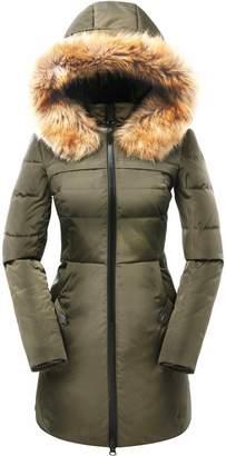 Valuker Women's Down Coat With Fur Hood 90D Parka Puffer Jacket 57-Beige-2XL