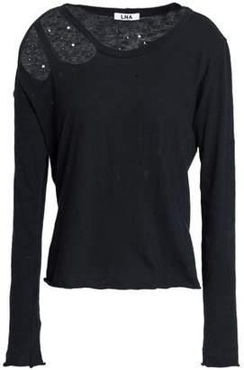 LnA Cutout Distressed Cotton-Jersey Top