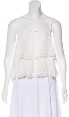 Anine Bing Lace Trim Sleeveless Top