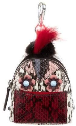 Fendi Snakeskin Flowerland Micro Monster Bag Bug Backpack Charm w/ Tags