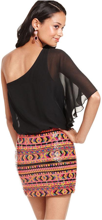 As U Wish Juniors Dress, Short Sleeve Sequin One-Shoulder