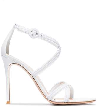 Gianvito Rossi white 105 frill leather sandals