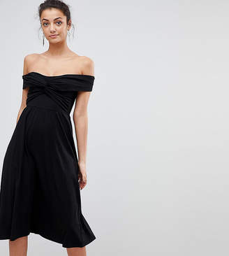 Bardot ASOS Tall ASOS TALL Midi Skater Dress with Neckline and Knot Front Detail