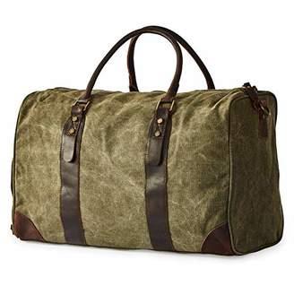 BRASS TACKS Leathercraft Men's Heavy Duty Canvas and Genuine Leather Duffel Gym Bag w/Shoulder Strap
