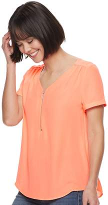 Apt. 9 Womens Crisscross Zipper-Front Top