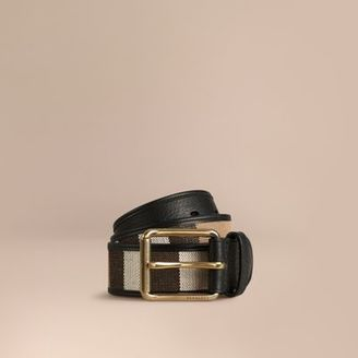 Burberry Canvas Check and Leather Belt $250 thestylecure.com