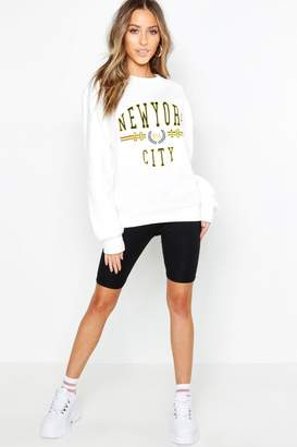 boohoo Petite New York Oversized Sweat Top