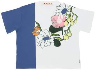 Marni Junior Flower Printed Cotton Jersey T-Shirt