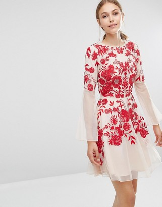 Frock and Frill Embroidered Beaded Skater Dress With Fluted Sleeve $218 thestylecure.com