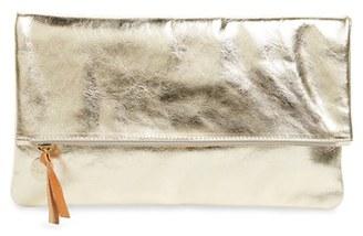 Clare V. 'Maison' Metallic Leather Foldover Clutch - Metallic $209 thestylecure.com