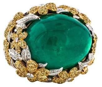 Ring Rhonda Faber Green 18K Emerald, Yellow Sapphire & Diamond Cocktail