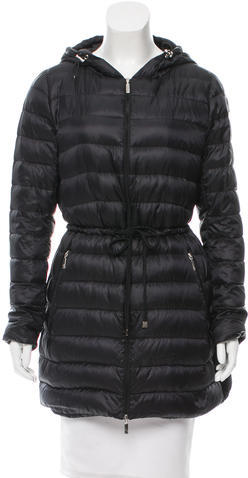 Moncler Moncler Laure Lightweight Hooded Down Coat