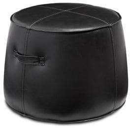 Distinctly Home Toby Leather Wood Round Ottoman
