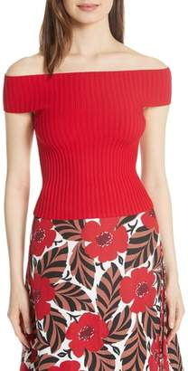 Kate Spade off-the-shoulder rib knit sweater